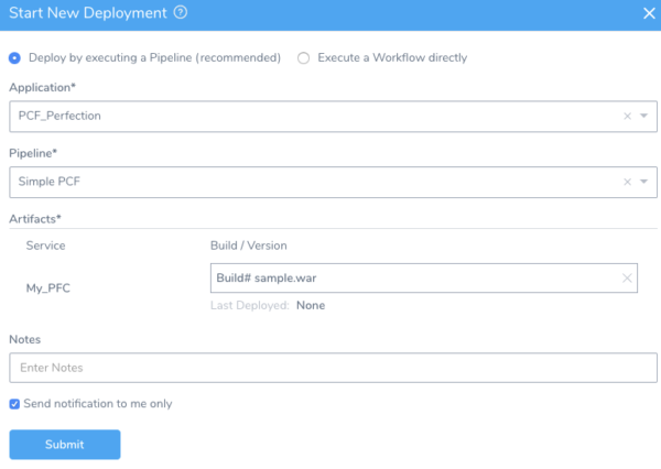Start New Deployment - Harness Continuous Delivery